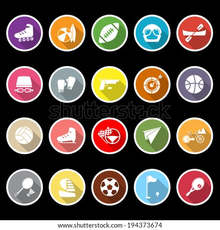 Extreme sport icons with long shadow, stock vector