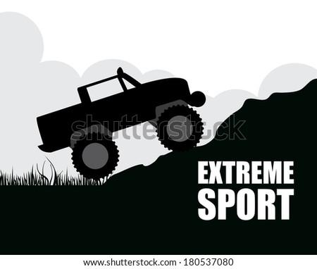 extreme sport over landscape  background vector illustration - stock vector