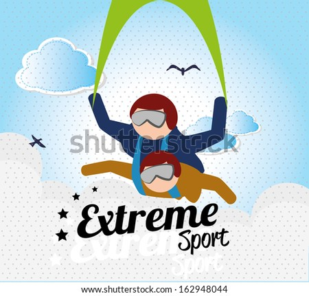 extreme sport over sky  background vector illustration - stock vector