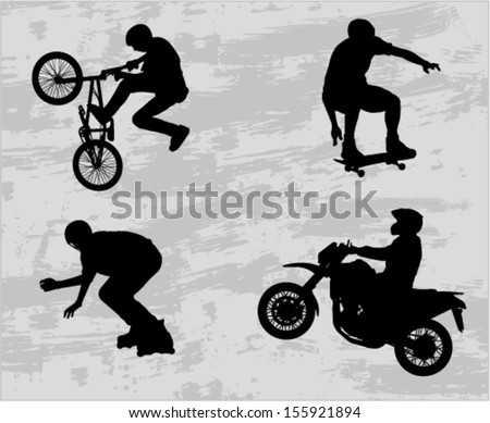 extreme sport silhouettes - stock vector