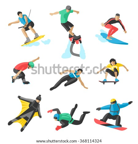 Extreme sport vector people. Parasailing, wakeboard, snowboard, rocker, snowboards, flybord, parkour, extreme, flying, man, bat, acrobatics, aerial, skysurfing, wingsuit extreme sport - stock vector