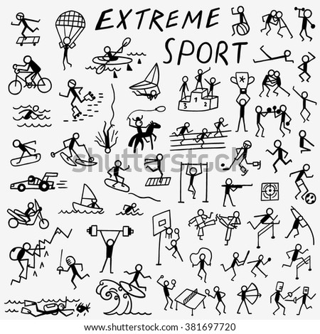 extreme sports doodles  - stock vector