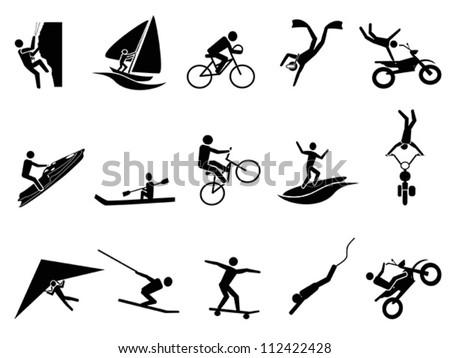 extreme sports icon set - stock vector