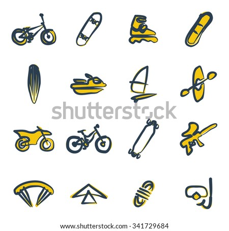 Extreme Sports Icons Freehand 2 Color - stock vector