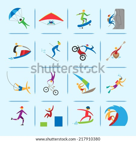 Extreme sports icons of diving climbing sailing people isolated vector illustration - stock vector