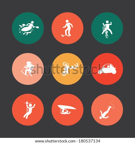 extreme sports over dark  background vector illustration - stock vector