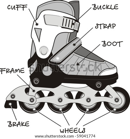 Extreme Sports Roller Skates of specification - isolated vector illustration. - stock vector