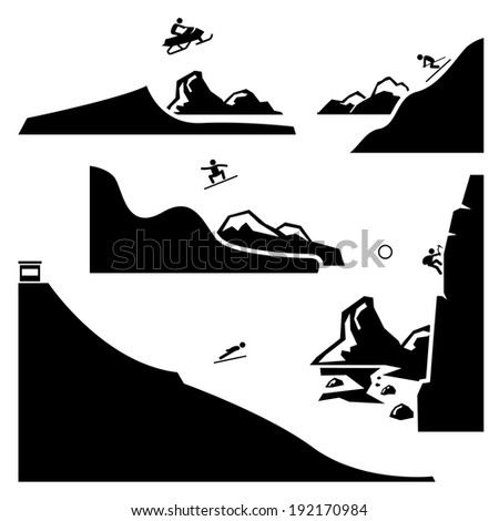 Extreme Sports - Snowmobiling, Skiing, Snowboarding, Ski Flying, Ice Climbing - Stick Figure Pictogram Icons Cliparts - stock vector