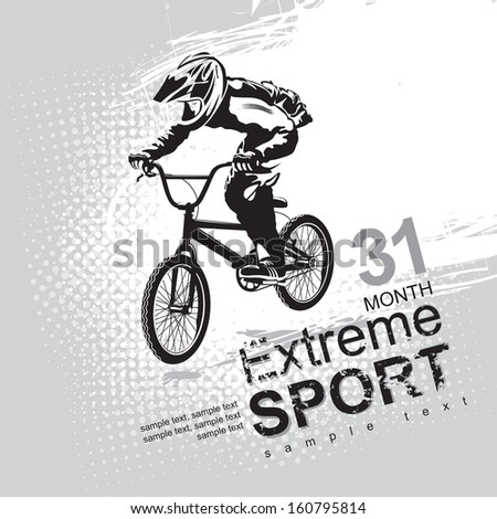 extreme sports with a cyclist - stock vector