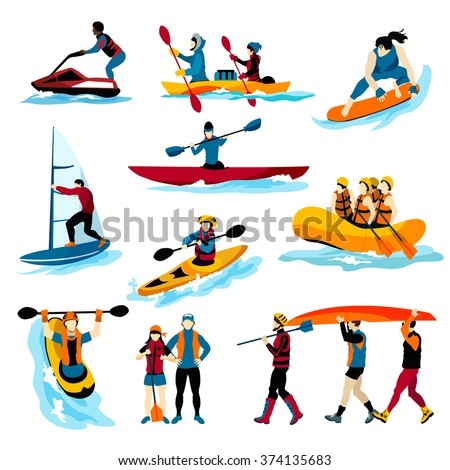 Extreme water sports flat color icons set with people in rafting surfing canoeing kayaking windsurfing isolated vector illustration
