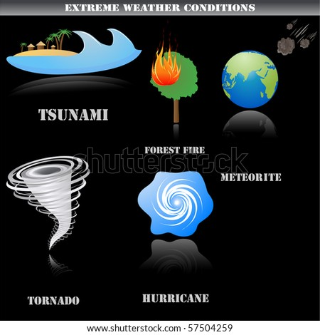 Extreme weather icons set isolated on black, vector - stock vector