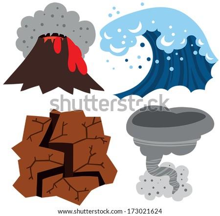 Extreme Weather Set: Volcano, Tsunami, Earthquake and Tornado - stock vector
