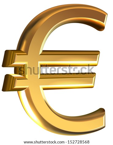 Extruded gold euro sign vector on white  background