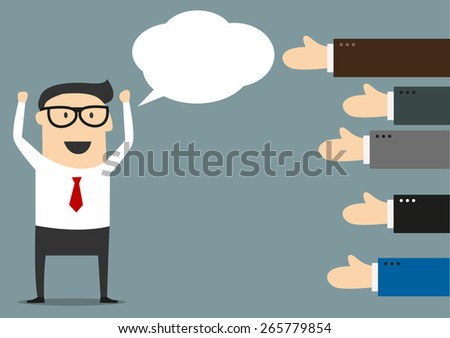 Exulting successful businessman with blank speech bubble and many hands showing him thumbs up gesture in cartoon style suited for feedback or like concept design - stock vector