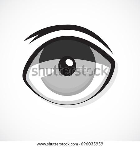 Eye Anime Icon On White Background Cartoon Monster Evil Ghost Stock ...