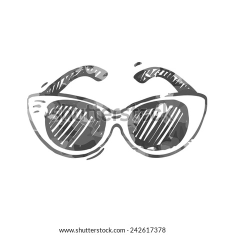 Eye cat sunglasses icon, hand drawn doodle style, vector illustration series.