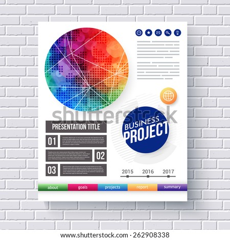 Eye-catching design for a Business Project presentation with text boxes, editable text, and categories with a bold vivid motif in the color of the rainbow, vector illustration - stock vector