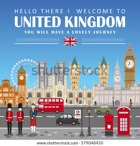 eye-catching United Kingdom travel poster design in flat style - stock vector