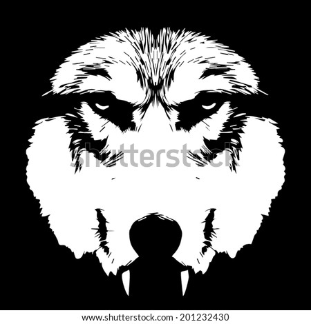 Eye contact with a terrible wolf with bare fangs. Menacing expression of the wolf, extremely dangerous beast. Amazing black and white vector image. Horror of the mystic werewolf, lycanthrope, wolfman. - stock vector