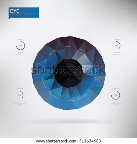 Eye created from polygons Infographic. Vector illustration - stock vector