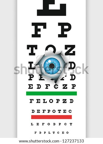 Eye examination through medical eye chart. Humorous illustration. EPS 8, CMYK