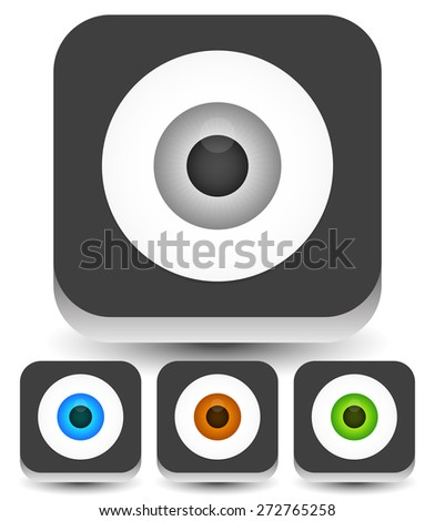 Eye, eyeball graphics in different colors. Gray, green, brown and blue eyes. Editable vector. - stock vector