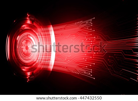 eye future technology, security concept background, Dark red cyber Light Abstract for computer graphic website internet. circuit. illustration. infographics. motion move. binary. vector - stock vector