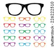 Eye glasses Hand drawn color set - stock vector