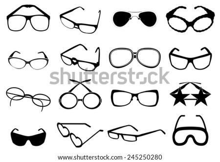 eye glasses icons set - stock vector