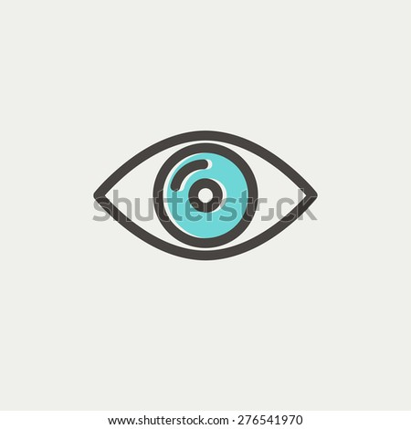 Eye icon thin line for web and mobile, modern minimalistic flat design. Vector icon with dark grey outline and offset colour on light grey background. - stock vector