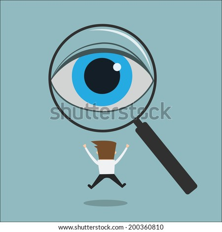 eye looking through a magnifying glass finding man Recruitment or selection concept.  - stock vector