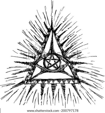 Eye Of God, Pentagram, Triangle - stock vector
