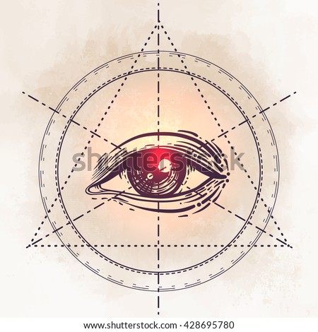 Eye of Providence. Masonic symbol. All seeing eye inside triangle pyramid. New World Order. Sacred geometry, religion, spirituality, occultism. Isolated vector illustration. Conspiracy theory. - stock vector