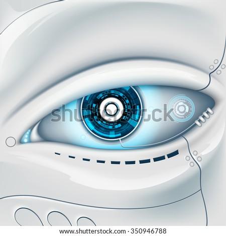 Eye of the robot. Futuristic HUD interface. Stock vector image. - stock vector