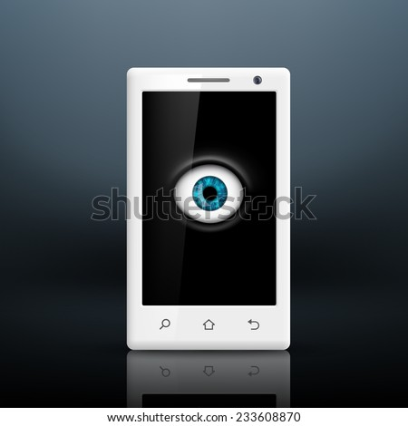 Eye on the screen of your smartphone - stock vector