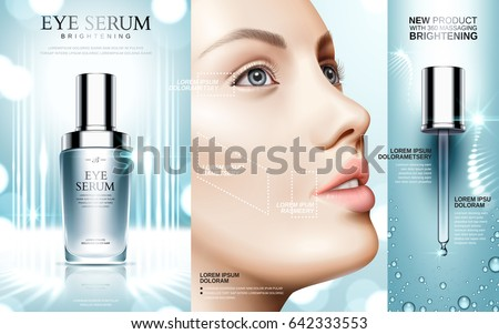 eye serum contained in cosmetic bottles and model face, 3d illustration