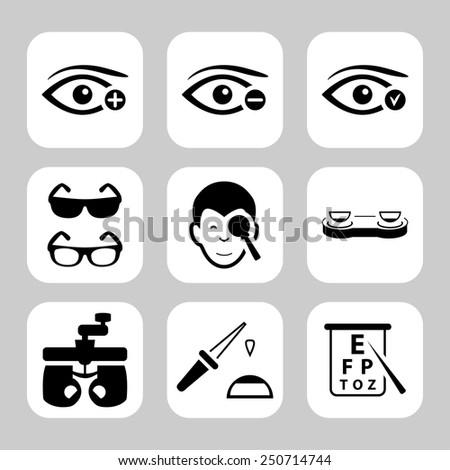 Eye sight vector icons set - stock vector