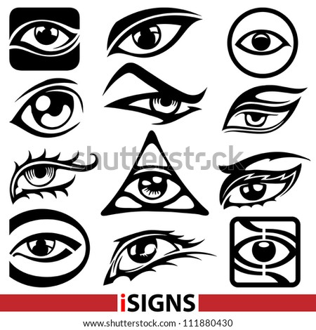 Eye signs. Eye icons vector set - stock vector