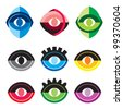 Eye symbol vector set - stock vector