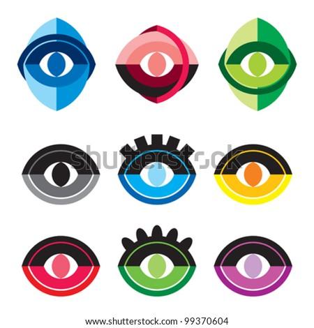 Eye symbol vector set - stock vector