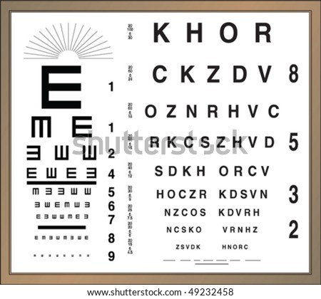 Eye test letter poster - stock vector