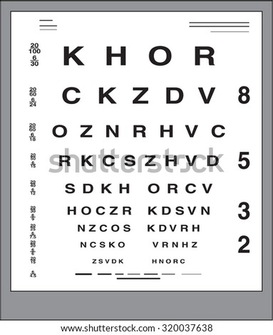 Eye test letter poster vector - stock vector