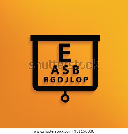 Eye test on yellow background,clean vector - stock vector
