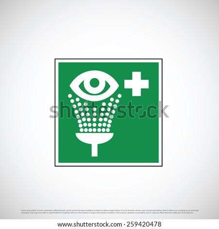 Eye washing point sign icon design - stock vector