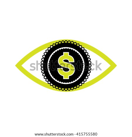 Eye with dollar icon, greed sign, profit or need money symbol isolated - stock vector