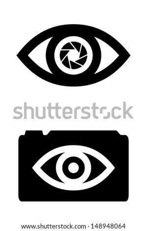 Eye with integrated camera lens. Vector icons. - stock vector