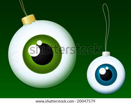 Eyeball christmas baubles - vector - stock vector