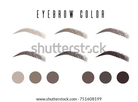 Eyebrow color set, banner makeup: black, brown, dark brown, light brown, gray, dark gray with makeup eyebrow