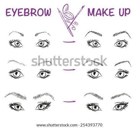 Eyebrow style. Vector illustration of girl face. Stylish make up. - stock vector