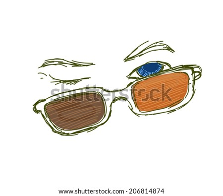 eyes and glasses - stock vector